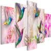 Schilderij - Colourful Hummingbirds (5 Parts) Wide Pink-1