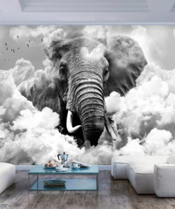 Fotobehang - Elephant in the Clouds (Black and White)-1