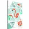 Schilderij - Geometric Flamingos (1 Part) Vertical-1