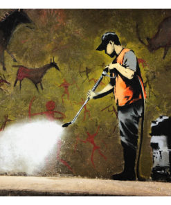 Fotobehang - Banksy - Cave Painting-2