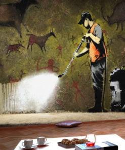 Fotobehang - Banksy - Cave Painting-1