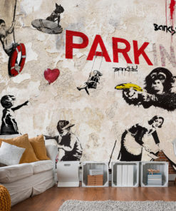 Fotobehang - [Banksy] Graffiti Collage-1