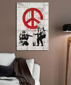 Schilderij - Soldiers Painting Peace by Banksy-2