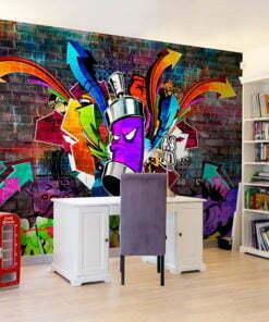 Fotobehang - Graffiti: Colourful attack-1