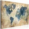 Schilderij - Retro Map (1 Part) Wide-1