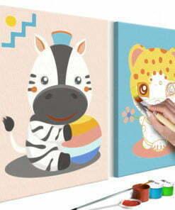 Doe-het-zelf op canvas schilderen - Zebra & Leopard-1