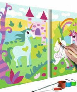 Doe-het-zelf op canvas schilderen - Fairytale Unicorns-1
