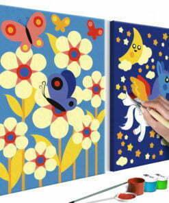 Doe-het-zelf op canvas schilderen - Butterfly & Unicorn-1