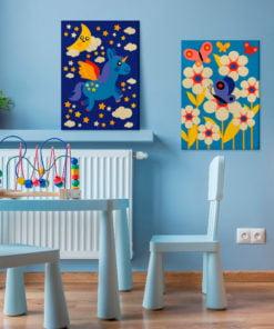 Doe-het-zelf op canvas schilderen - Butterfly & Unicorn-2