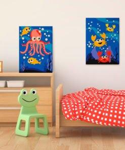 Doe-het-zelf op canvas schilderen - Ocean Animals-2