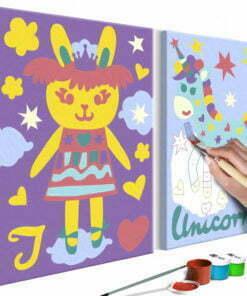 Doe-het-zelf op canvas schilderen - Rabbit & Unicorn-1