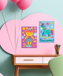 Doe-het-zelf op canvas schilderen - Rabbit & Unicorn-2