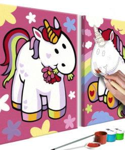 Doe-het-zelf op canvas schilderen - Unicorns-1
