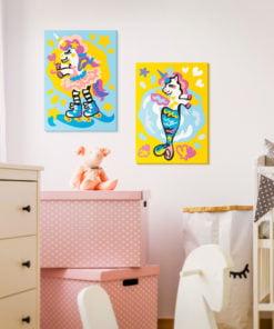 Doe-het-zelf op canvas schilderen - Funny Unicorns-2