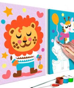 Doe-het-zelf op canvas schilderen - Lion & Giraffe-1