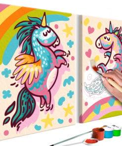 Doe-het-zelf op canvas schilderen - Chubby Unicorns-1
