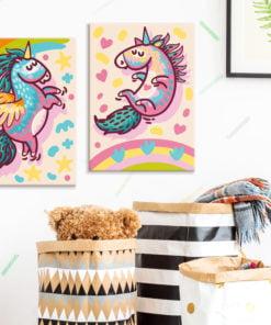 Doe-het-zelf op canvas schilderen - Chubby Unicorns-2
