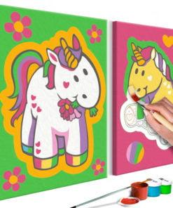 Doe-het-zelf op canvas schilderen - Unicorns (Green & Pink)-1