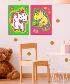 Doe-het-zelf op canvas schilderen - Unicorns (Green & Pink)-2