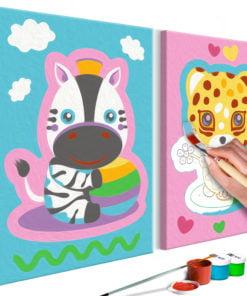 Doe-het-zelf op canvas schilderen - Zebra & Leopard (Pink & Blue)-1