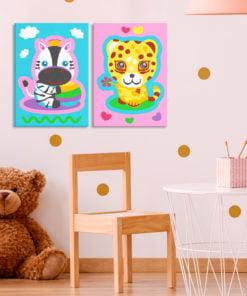 Doe-het-zelf op canvas schilderen - Zebra & Leopard (Pink & Blue)-2