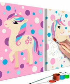 Doe-het-zelf op canvas schilderen - Unicorns (Pastel Colours)-1
