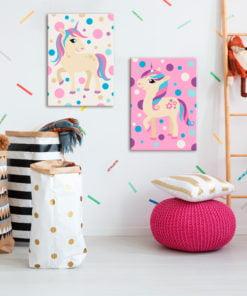 Doe-het-zelf op canvas schilderen - Unicorns (Pastel Colours)-2