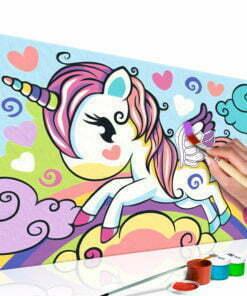 Doe-het-zelf op canvas schilderen - Colourful Unicorn-1