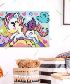 Doe-het-zelf op canvas schilderen - Colourful Unicorn-2