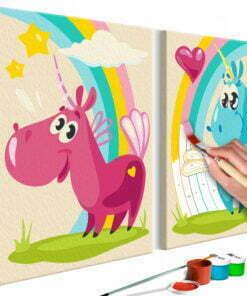 Doe-het-zelf op canvas schilderen - Sweet Unicorns-1