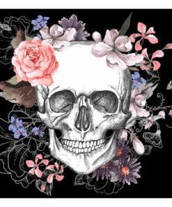 Fotobehang - Skull and Flowers-2