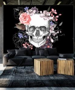 Fotobehang - Skull and Flowers-1